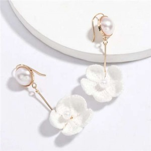 Pearl Inlaid Cotton Threads Flower Korean High Fashion Women Dangling Earrings - White