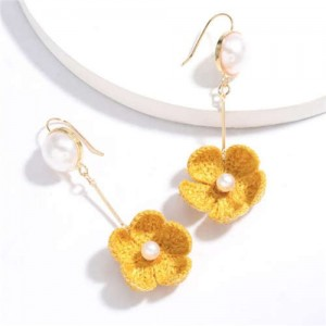 Pearl Inlaid Cotton Threads Flower Korean High Fashion Women Dangling Earrings - Yellow