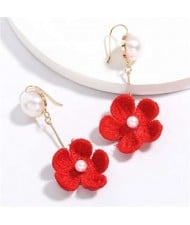 Pearl Inlaid Cotton Threads Flower Korean High Fashion Women Dangling Earrings - Red