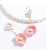Pearl Inlaid Cotton Threads Flower Korean High Fashion Women Dangling Earrings - Pink