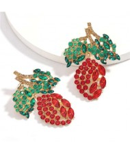 Fresh Mango Design Shining Rhinestone Women Fashion Earrings - Red