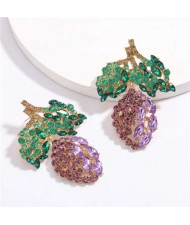 Fresh Mango Design Shining Rhinestone Women Fashion Earrings - Purple
