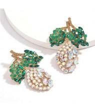 Fresh Mango Design Shining Rhinestone Women Fashion Earrings - Luminous White