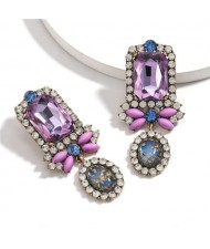 Exaggerated Fashion Floral Design Women Rhinestone Statement Earrings - Violet