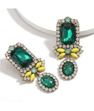 Exaggerated Fashion Floral Design Women Rhinestone Statement Earrings - Green