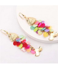 Resin Paillettes Fish Tassel Design Shoulder-duster Earrings - Multicolor