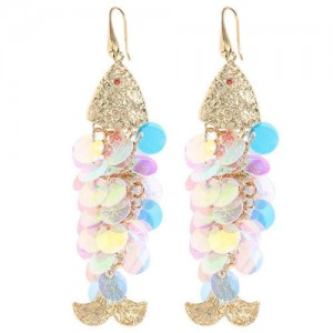Resin Paillettes Fish Tassel Design Shoulder-duster Earrings - Light Colorful