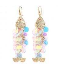 Resin Paillettes Fish Tassel Design Shoulder-duster Earrings - Light Colorful