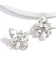 Splendid Rhinestone Floral Pattern High Fashion Women Statement Earrings - White