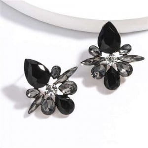 Splendid Rhinestone Floral Pattern High Fashion Women Statement Earrings - Black