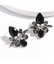 Splendid Rhinestone Floral Pattern High Fashion Women Statement Earrings - Black