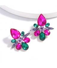 Splendid Rhinestone Floral Pattern High Fashion Women Statement Earrings - Rose