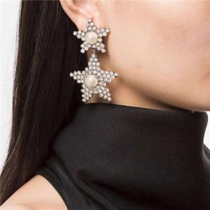 Dual Stars Design Shining Fashion Women Alloy Costume Earrings - Golden