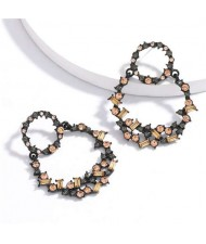 Vintage Fashion Rhinestone Garland Design Women Alloy Statement Earrings - Champagne