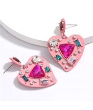 Assorted Gems Inlaid Pinky Heart Design Women Alloy Fashion Statement Earrings