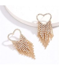 Rhinestone Tassel Heart Shape High Fashion Women Shoulder-duster Earrings - Golden