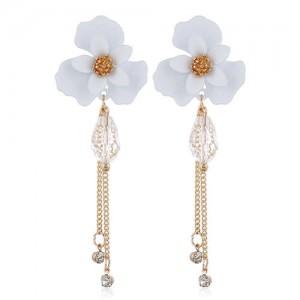 Enamel Flower Beads and Chain Tassel Korean Fashion Alloy Women Shoulder-duster Earrings - White