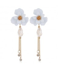 Enamel Flower Beads and Chain Tassel Korean Fashion Alloy Women Shoulder-duster Earrings - White