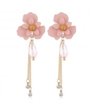 Enamel Flower Beads and Chain Tassel Korean Fashion Alloy Women Shoulder-duster Earrings - Pink