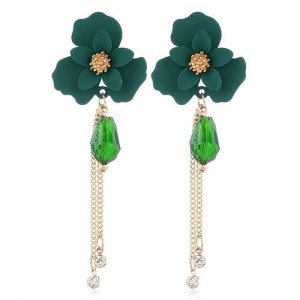 Enamel Flower Beads and Chain Tassel Korean Fashion Alloy Women Shoulder-duster Earrings - Green