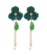 Enamel Flower Beads and Chain Tassel Korean Fashion Alloy Women Shoulder-duster Earrings - Green