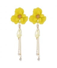 Enamel Flower Beads and Chain Tassel Korean Fashion Alloy Women Shoulder-duster Earrings - Yellow
