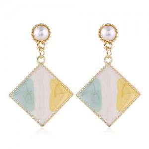 Oil-spot Glazed Dangling Sqaure Korean Pearl Fashion Women Statement Earrings - Green and Yellow