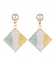 Oil-spot Glazed Dangling Sqaure Korean Pearl Fashion Women Statement Earrings - Green and Yellow