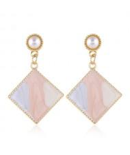 Oil-spot Glazed Dangling Sqaure Korean Pearl Fashion Women Statement Earrings - Pink