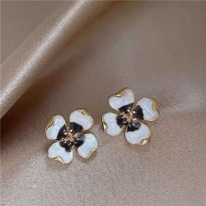 Enamel Flower Design Korean Romantic Fashion Women Alloy Earrings - White