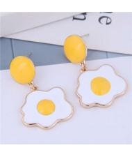 Sunny Side Up Design Enamel Women Fashion Alloy Earrings