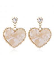 Graceful Resin Heart Korean Fashion Women Costume Earrings