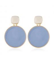 Enemal Round Dangling Fashion Women Alloy Costume Earrings - Blue