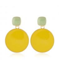 Enemal Round Dangling Fashion Women Alloy Costume Earrings - Yellow