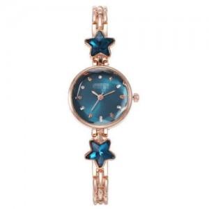 Lucky Stars Decorated Elegant Fashion Index Design Slim Style Women Wrist Watch - Blue
