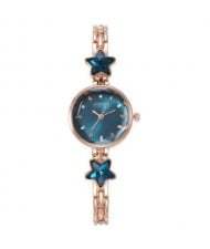 Lucky Stars Decorated Elegant Fashion Index Design Slim Style Women Wrist Watch - Blue