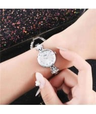 Lucky Stars Decorated Elegant Fashion White Index Design Slim Style Women Wrist Watch - Silver