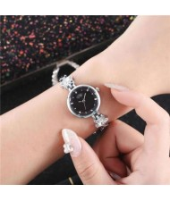 Lucky Stars Decorated Elegant Fashion Black Index Design Slim Style Women Wrist Watch - Silver