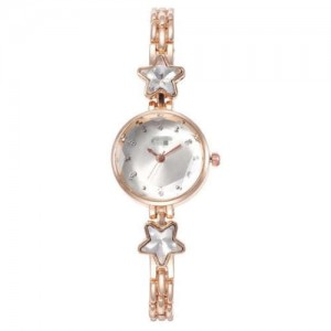 Lucky Stars Decorated Elegant Fashion White Index Design Slim Style Women Wrist Watch - Rose Gold