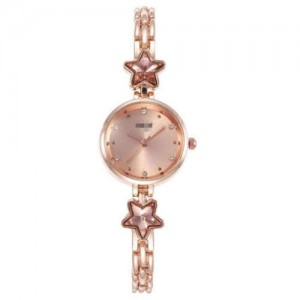 Lucky Stars Decorated Elegant Fashion Golden Index Design Slim Style Women Wrist Watch - Rose Gold