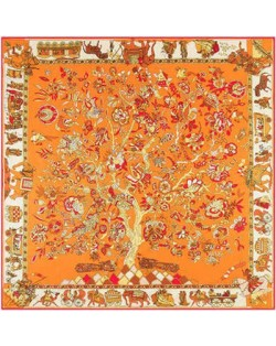 5 Colors Available Auspicious Tree Design 130*130 cm Artificial Silk Square Women Scarf
