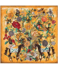 7 Colors Available Horses and Flowers Abstract Fashion 130*130 cm Artificial Silk Square Women Scarf