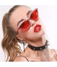 6 Colors Available Rhinestone Embellished Vintage Fashion Cat Eye Women Sunglasses