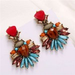 Colorful Jewel Simple Floral Fashion Design Women Statement Earrings