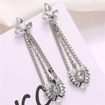 Rhinestone Waterdrop Tassel Design Shining Fashion Women Shoulder-duster Earrings