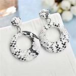 Snake Skin Texture High Fashion Big Hoop Design Women Costume Earrings - White