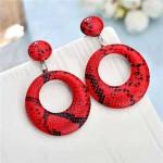 Snake Skin Texture High Fashion Big Hoop Design Women Costume Earrings - Red