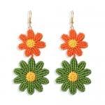 Mini Beads Dangling Dual Daisy Design High Fashion Women Shoulder-duster Earrings - Orange and Green