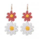 Mini Beads Dangling Dual Daisy Design High Fashion Women Shoulder-duster Earrings - Pink and White