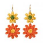 Mini Beads Dangling Dual Daisy Design High Fashion Women Shoulder-duster Earrings - Yellow and Orange